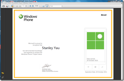 Windows Phone 7 Expert certificate